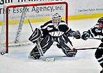 29 January 2012: University of New Hampshire Wildcat goaltender Lindsey Minton, a Senior from Richardson, Texas, in action against the University of Vermont Catamounts at Gutterson Fieldhouse in Burlington, Vermont. The Lady Cats edged out the Lady Wildcats 2-1 to split their Hockey East twin-game weekend series. Mandatory Credit: Ed Wolfstein Photo