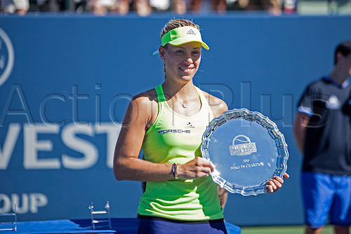09.08.2015. Stanford, California, USA.  Angelique Kerber (GER) poses with her championship trophy after winning the finals of the Bank of the West Classic at Stanford University's Taube Family Tennis Center in Stanford, Calif. Kerber defeated Karolina Pliskova (CZE) to become the 2015 Bank of the West Classic Champion.