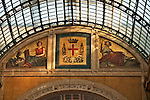 Mosaics at the top of the Galleria in Milan, Italy representing the arts and agriculture