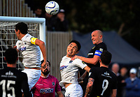 Bill Robertson (Team Wellington) tries to beat Daewook Kim to a corner kick during the Oceania Football Championship final (second leg) football match between Team Wellington and Auckland City FC at David Farrington Park in Wellington, New Zealand on Sunday, 7 May 2017. Photo: Dave Lintott / lintottphoto.co.nz