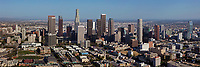 aerial photograph sklyine of downtown Los Angeles, California