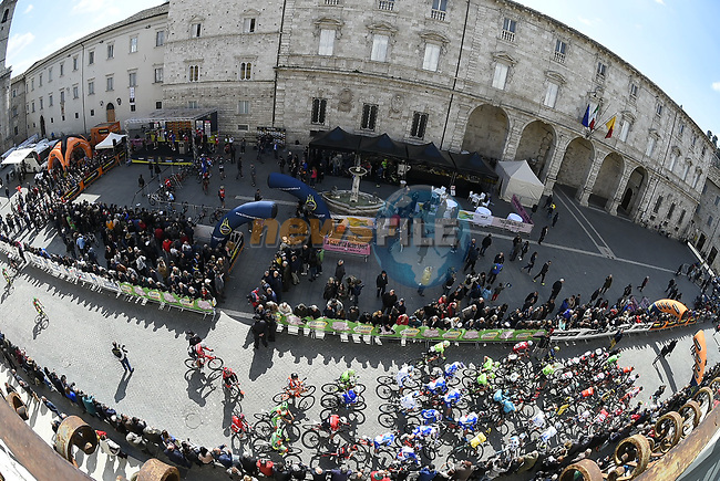 Rider line up for the start of Stage 6 of the 2017 Tirreno Adriatico running 168km from Ascoli Piceno to Civitanova Marche, Italy. 13th March 2017.<br /> Picture: La Presse/Fabio Ferrari | Cyclefile<br /> <br /> <br /> All photos usage must carry mandatory copyright credit (&copy; Cyclefile | La Presse)