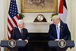 President Mahmoud Abbas of the Palestinian Authority speaks during a joint statement with United States President Donald J. Trump in the Roosevelt Room of the White House in Washington, United States, on May 3, 2017. Photo by Thaer Ganaim