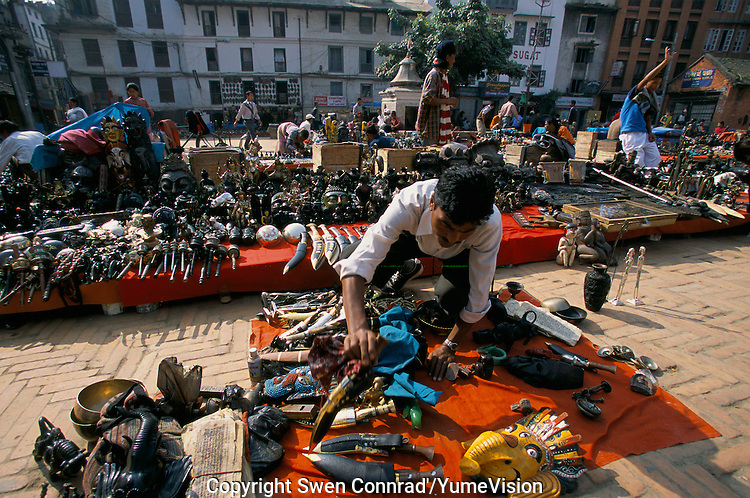Antiques and folklore objects at the Durbar square market in Kathmandu City, Nepal