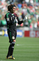 Guillermo Ochoa celebrates the Mexico goal. Mexico defeated Nicaragua 2-0 during the First Round of the 2009 CONCACAF Gold Cup at the Oakland, Coliseum in Oakland, California on July 5, 2009.