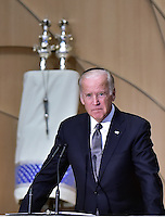 United States Vice President Joe Biden makes remarks at the official National Memorial Service for Shimon Peres at Adas Israel Congregation in Washington, DC on October 6, 2016.  <br /> Credit: Ron Sachs / CNP /MediaPunch