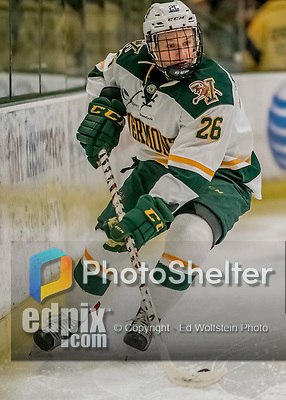 18 December 2016: University of Vermont Catamount Defenseman Trey Phillips, a Junior from Okotoks, Alberta, in first period action against the Union College Dutchmen at Gutterson Fieldhouse in Burlington, Vermont. The Catamounts fell to their former ECAC hockey rivals 2-1, as the Dutchmen sweep the two-game weekend series. Mandatory Credit: Ed Wolfstein Photo *** RAW (NEF) Image File Available ***