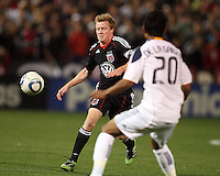Dax McCarty (10) of D.C. United  moves towards A.J. DeLaGarza (20) of the Los Angeles Galaxy during an MLS match at RFK Stadium, on April 9 2011, in Washington D.C.The game ended in a 1-1 tie.