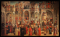 Episodi della vita di San Marco, or Scenes from the Life of St Mark, 1525-26, Renaissance painting by Giovanni Mansueti, 1465-1527, in the Gallerie dell'Accademia, Venice, Italy. The scene is set in a square in Alexandria, with Venetian inspired architecture and crowds of European and Mamluk men. On the right, the sultan commands the arrest of St Mark, he is arrested in a church in the rear centre, and on the left, St Mark is visited in prison by Christ and an angel. This was 1 of 3 paintings completed by Mansueti for the Scuola Grande di San Marco. Picture by Manuel Cohen
