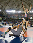 Graham-Kapowsin's 138 pounder Ian Steen leaps and points skyward after pinning Todd beamer's Deshar House in 3:35  in the Championship Match at the 4A Washington State MAT CLASSIC XXIV in Tacoma.  ©2012. Jim Bryant Photo. All Rights Reserved.
