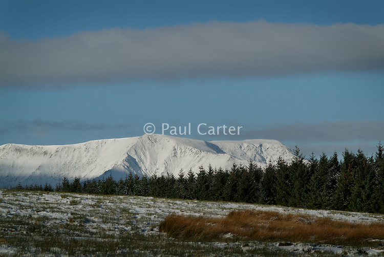 Snow covered peak of Blencathra (Saddleback) The Lake District.