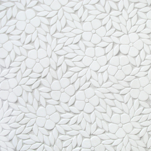 Jacqueline, a waterjet stone mosaic, shown in tumbled Thassos, is part of the Silk Road Collection by Sara Baldwin for New Ravenna. <br />