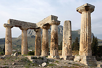 A general view of the Temple of Apollo, on April 16, 2007 in Corinth, Greece. Standing prominently on a knoll the Temple of Apollo was built in the 7th century BC in the Doric Order. Seven of its original 38 columns remain standing and are seen here in the early morning light with the mountains in the background. It is one of the oldest temples in Greece. Corinth, founded in Neolithic times, was a major Ancient Greek city, until it was razed by the Romans in 146 BC.