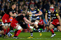 Charlie Ewels of Bath Rugby takes on the Saracens defence. Aviva Premiership match, between Bath Rugby and Saracens on April 1, 2016 at the Recreation Ground in Bath, England. Photo by: Patrick Khachfe / Onside Images