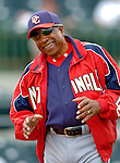 10 March 2006: Frank Robinson, Manager of the Washington Nationals, watches batting practice prior to a Spring Training game against the Houston Astros. The Astros defeated the Nationals 8-6 at Osceola County Stadium, in Kissimmee, Florida...Mandatory Photo Credit: Ed Wolfstein..