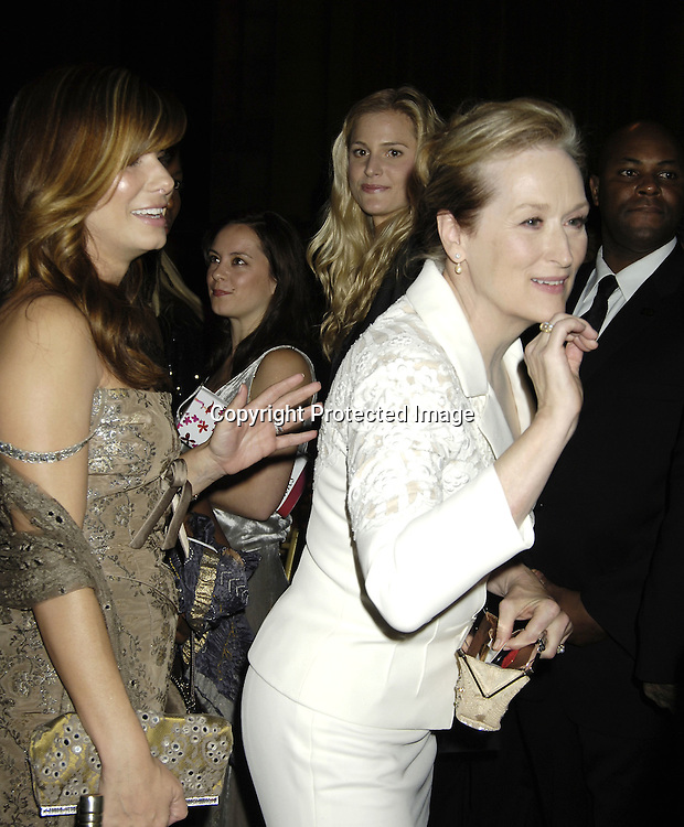 Sandra Bullock and Meryl Streep ..at The Fashion Group International's  22nd Annual Night of Stars Awards on October 27, 2005 at Cipriani. ..Sandra Bullock was presented with the Hunanitarian Award..Photo by Robin Platzer, Twin Images