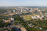 Austin, Texas, skyline with Lady Bird Lake, Auditorium Shores, Palmer Event Center and Long Center in foreground.