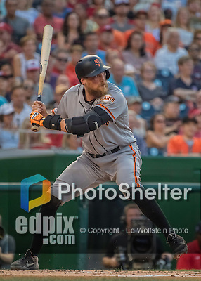 6 August 2016: San Francisco Giants right fielder Hunter Pence at bat with redness on his right cheek from his previous at-bat foul against the Washington Nationals at Nationals Park in Washington, DC. The Giants defeated the Nationals 7-1 to even their series at one game apiece. Mandatory Credit: Ed Wolfstein Photo *** RAW (NEF) Image File Available ***