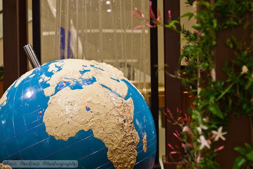 "A view of the braille world globe in Orange Coast College's Ornamental Horticulture Club's first-place winning garden installation at the 2012 South Coast Plaza Spring Garden Show in Costa Mesa, CA.  The theme for the show was ""healing gardens"", and the OCC team installed a ""garden for the visually impaired.""  The garden's centerpiece is a 1957 restored globe for the blind, with the world geography in exaggerated height to be sensed by the touch of blind people; the locations of plants in the garden was indicated in braille on the globe."
