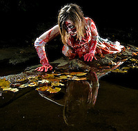 Ghoul Shoot .10-23-05.Double Rock Park, Parkville, MD.Model: Shawna Potter.Art Director: Nick Borkowicz.Make up: Dan Mguinn.