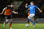 St Johnstone v Dundee United...27.12.14   SPFL<br /> Brian Easton runs at Calum Butcher before seeing his shot saved by Radoslaw Cierzniak<br /> Picture by Graeme Hart.<br /> Copyright Perthshire Picture Agency<br /> Tel: 01738 623350  Mobile: 07990 594431
