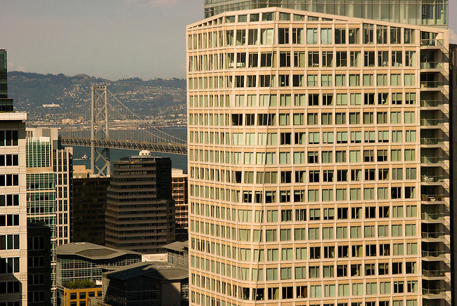SF Bay Bridge with buildings