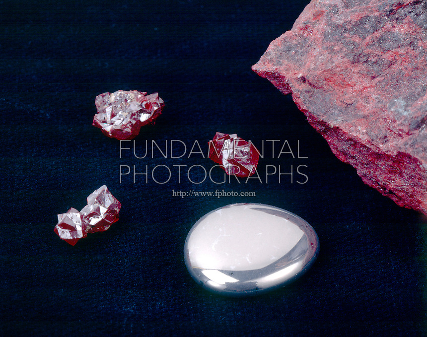 MERCURY &amp; CINNABAR<br /> Elemental form &amp; HgS (Mercury sulfide chief ore of mercury) both in rare crystal form and granular massive form