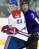 Shayne Thompson (Lowell - 23), Cameron Cooper (Mankato - 3) - The visiting Minnesota State University-Mankato Mavericks defeated the University of Massachusetts-Lowell River Hawks 3-2 on Saturday, November 27, 2010, at Tsongas Arena in Lowell, Massachusetts.