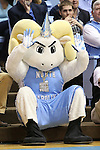 31 December 2013: Ramses, the UNC mascot, is dressed for New Year's Eve while waiting for a free throw. The University of North Carolina Tar Heels played the UNC Wilmington Seahawks at the Dean E. Smith Center in Chapel Hill, North Carolina in a 2013-14 NCAA Division I Men's Basketball game. UNC won the game 84-51.