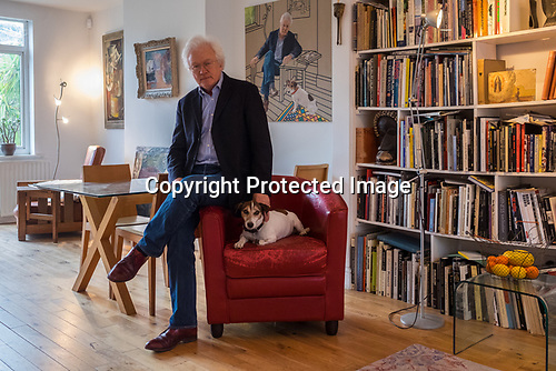 Homer Sykes portrait with Brendan Buckleigh Avenue 2017. The painting is by Ben Hughes of Bath. Photograph copyright Chantal Richards. If you want to use this please make contact with me or directly with Chantal. Find her on FB < Chantal Alexandra Richards >