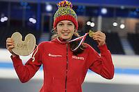 SCHAATSEN: HEERENVEEN: 05-02-2017, KPN NK Junioren, Junioren B Dames Mass Start, kampioen Luna Jonkers, ©foto Martin de Jong