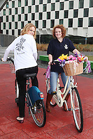 NO REPRO FEE. 8/6/2011.Dublin's Bike to Work Day. Sinead Mitchell and 98FM DJ Claire Solan are pictured at Grand Canal Dock launching Bike to Work Day, they took a spin around Dublin Docklands on Dutch bicycles to prepare for the lunchtime cycle on June 22nd, at which all workers who cycle to their place of employment will be encouraged to take part.Win one of 500 goodie bags by registering to attend the event @ www.dublincitycycling.ie. Prizes for best dressed will also be presented following the cycle For further information contact:Emer O'Reilly, Limelight Communications E: emer.oreilly@limelight.ie T: 01 6680600 /0868593658. Picture James Horan/Collins Photos