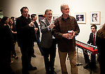"David Letterman at his staff's holiday party and photo gallery exhibition by his staff writer Steve Young (left) entitled ""CELEBRIGUM"" held at Ameringer McEnery Yohe Gallery  in New York. ..Photo by Robert Caplin."
