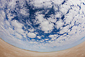 Australia, South Australia;  clouds above dry salt lake &quot;Lake Eyre&quot;, fisheye view