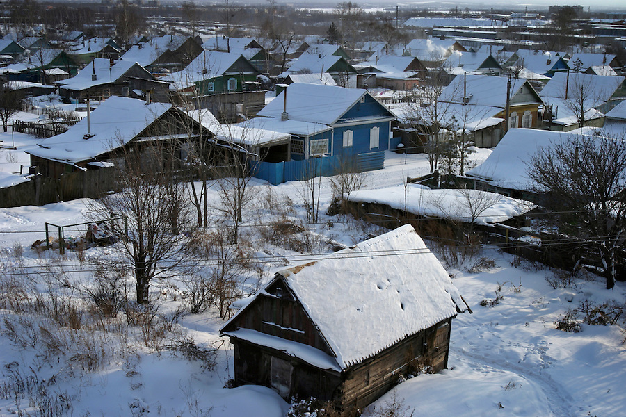 Khabarovsk, Russia, 01/03/2004.&amp;#xD;Dilapidated old  private houses in the city centre.&amp;#xD;<br />