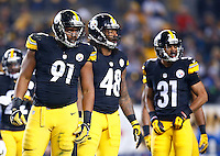 Stephon Tuitt #91, Bud Dupree #48, and Ross Cockrell #31 of the Pittsburgh Steelers in action against the Indianapolis Colts during the game at Heinz Field on December 6, 2015 in Pittsburgh, Pennsylvania. (Photo by Jared Wickerham/DKPittsburghSports)