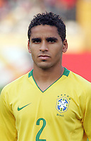 Brazil's Douglas (2) stands on the field before the match against Germany during the FIFA Under 20 World Cup Quarter-final match at the Cairo International Stadium in Cairo, Egypt, on October 10, 2009. Germany lost 2-1 in overtime play.