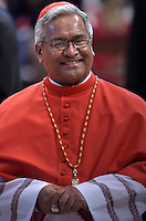 Tongan Cardinal Soane Patita Paini Mafi.Pope Francis,during a consistory for the creation of new Cardinals at St. Peter's Basilica in Vatican.February 14, 2015
