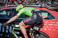 oncoming Sep Vanmarcke (BEL Cannondale-Drapac) crashes (sideways) into a braking BMC team car but is luckily able to continue the race<br /> <br /> 60th E3 Harelbeke (1.UWT)<br /> 1day race: Harelbeke &rsaquo; Harelbeke - BEL (206km)
