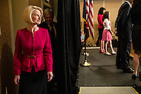 Callista Gingrich and her husband Newt Gingrich arrive for a news conference announcing he is suspending his campaign for the Republican nomination for president on Wednesday, May 2, 2012 in Arlington, VA.
