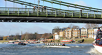 "London; GREAT BRITAIN; Both Cambridge crews pass under Hammersmith Bridge. University Trial Eights for crew selection for 157th Boat Race [April 2011]  raced over the Championship Course Putney to Mortlake  on the River Thames. Wednesday  - 08/12/2010   [Mandatory Credit; ""Photo, Peter Spurrier/Intersport-images]..Crews..CUBC. Bake; Middx Station.Bow, Nick EDELMAN, 2. Charlie PITT-FORD, 3. Josh PENDRY, 4. Alex ROSS, 5. Geoff ROTH, 6. Derek RASUSSEN, 7. David NELSON, Stroke. Mike THORP and cox Liz BOX...CUBC Shake; Surrey Station.Bow, Jamie LOGIE, 2. Andrew VIQUERTAT, 3. James STRAWSON, 4. Ben EVANS, 5. Dan RIX-STANDING, 6. Hardy CUBASCH, 7. George NASH, stroke. Joel JENNINGS and cox Tom FIELDMAN."