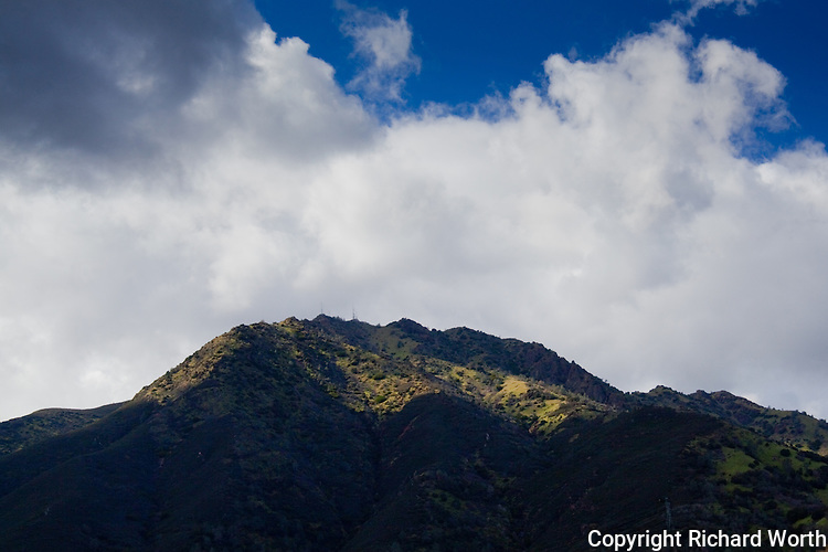 Winter's rains give Mount Diablo's craggy eastern face patches of green.