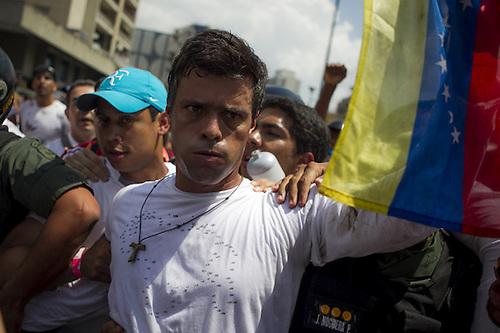Leopoldo López cuando se entregó a las autoridades en febrero de 2014.