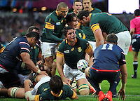 Francois Louw of South Africa looks on after scoring a try. Rugby World Cup Pool B match between South Africa and the USA on October 7, 2015 at The Stadium, Queen Elizabeth Olympic Park in London, England. Photo by: Patrick Khachfe / Onside Images