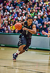 26 January 2014: Binghamton University Bearcat Guard Marlon Beck II, a Freshman from Bowie, MD, in action against the University of Vermont Catamounts at Patrick Gymnasium in Burlington, Vermont. The Catamounts defeated the Bearcats 72-39. Mandatory Credit: Ed Wolfstein Photo *** RAW (NEF) Image File Available ***