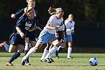 24 November 2007: North Carolina's Whitney Engen (r) is chased by Notre Dame's Elise Weber (23) and Amanda Cinalli (behind). The University of Notre Dame Fighting Irish defeated University of North Carolina Tar Heels 3-2 at Fetzer Field in Chapel Hill, North Carolina in a Third Round NCAA Division I Womens Soccer Tournament game.
