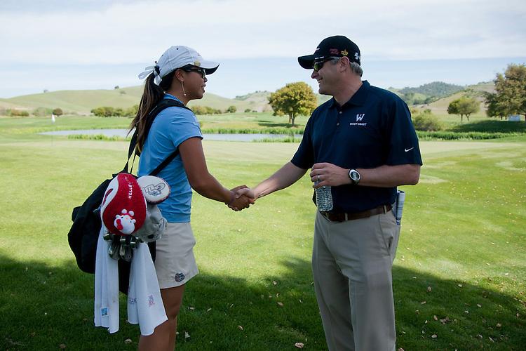 April 18, 2012; Hollister, CA, USA; Gonzaga Bulldogs golfer Victoria Fallgren (left) and WCC commissioner Jamie Zaninovich (right) during the WCC Golf Championships at San Juan Oaks Golf Club.