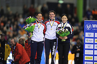 SCHAATSEN: HEERENVEEN: 14-12-2014, IJsstadion Thialf, ISU World Cup Speedskating, Podium Ladies 500m Division A, Brittany Bowe (USA), Heather Richardson (USA), Sang-Hwa Lee (KOR), ©foto Martin de Jong