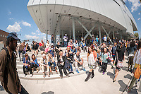 Thousands crowd the trendy Meatpacking District in New York on Saturday, May 2, 2015 for the Whitney Museum of American Art street fair celebrating the museum's new digs opening.  The trendy neighborhood got even more trendy with the opening of the museum.  (© Richard B. Levine)
