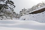 Photo shows Hirosaki Castle blanketed in snow in Hirosaki, Aomori Prefecture, in the Tohoku region of Japan on 18 Jan. 2013. Photo: Robert Gilhooly.